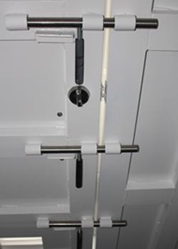 "Our 300lb. vault type door includes 3 stainless steel 1"" diameter locking pins for maximum security."