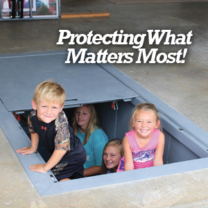 underground storm shelters and tornado shelters provide protection for what matters most...your family.